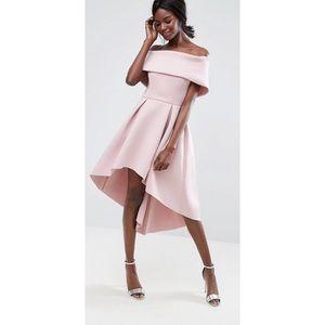 ASOS Deep Bardot Foam Scuba Dip Back Dress Mink